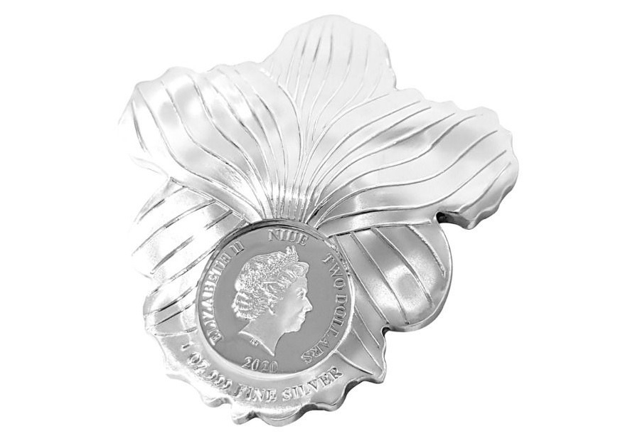 (W160.200.2020.1.oz.Ag.6) 2 Dollars Niue 2020 1 ounce Proof silver - Orchid Obverse (zoom)