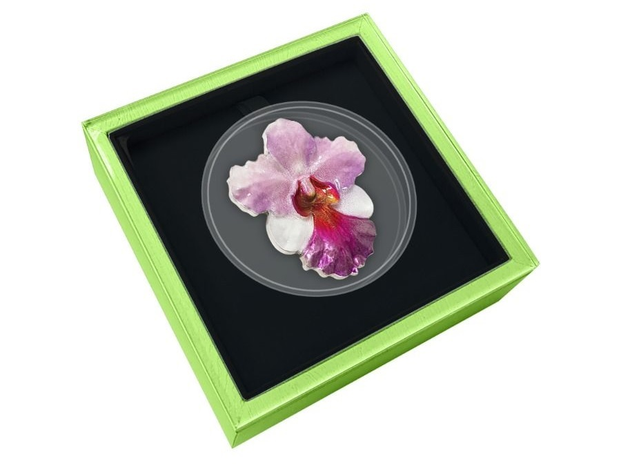 (W160.200.2020.1.oz.Ag.6) 2 Dollars Niue 2020 1 oz Proof Ag - Orchid (case) (zoom)