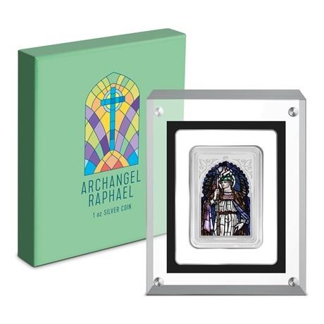 (W160.200.2020.30-00971) 2 Dollars Niue 2020 1 once Ag BE - Archange Raphaël (boîte et socle)