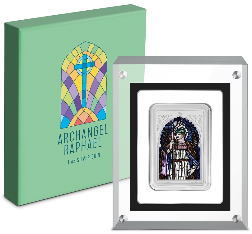 (W160.200.2020.30-00971) 2 Dollars Niue 2020 1 oz Proof Ag - Archangel Raphael (base and box) (zoom)