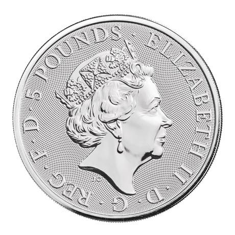 (W185.500.2021.2.oz.Ag.1) 5 Pounds Royaume-Uni 2021 2 onces argent - Lévrier blanc Richmond Avers