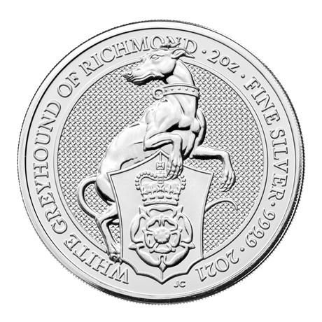 (W185.500.2021.2.oz.Ag.1) 5 Pounds Royaume-Uni 2021 2 onces argent - Lévrier blanc Richmond Revers