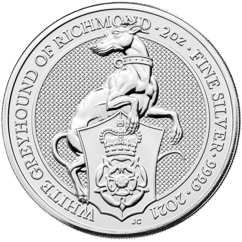 (W185.500.2021.2.oz.Ag.1) 5 Pounds United Kingdom 2021 2 oz Ag - White Greyhound Richmond Reverse (zoom)