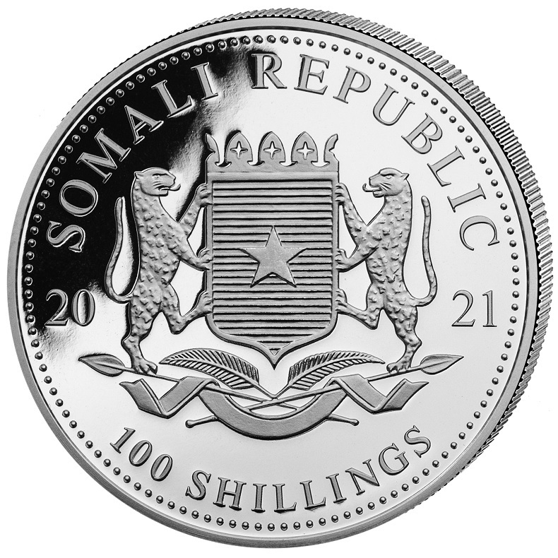(W203.10000.2021.1.oz.Ag.1) 100 Shillings Somali Republic 2021 1 oz silver - Elephant Obverse (zoom)