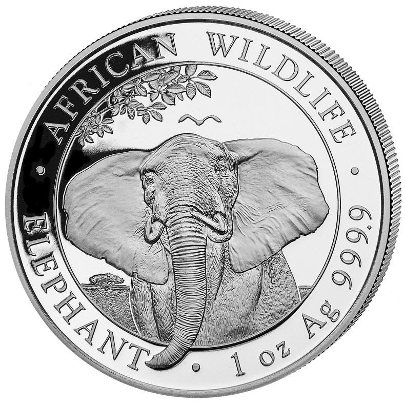 (W203.10000.2021.1.oz.Ag.1) 100 Shillings Somali Republic 2021 1 oz silver - Elephant Reverse (zoom)