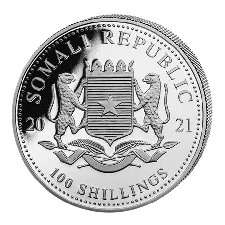 (W203.10000.2021.1.oz.Ag.1) 100 Shillings Somalie 2021 1 once argent - Eléphant Avers