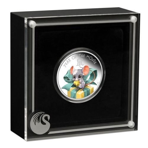 (W228.1.50.C.2020.20G20AAA) 50 Cents Tuvalu 2020 0.50 silver Proof Ag - Baby Mouse (case) (zoom)
