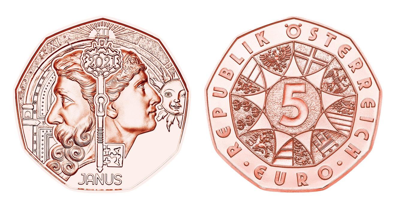 (EUR01.500.2021.24611) 5 euro Austria 2021 - Janus (zoom)