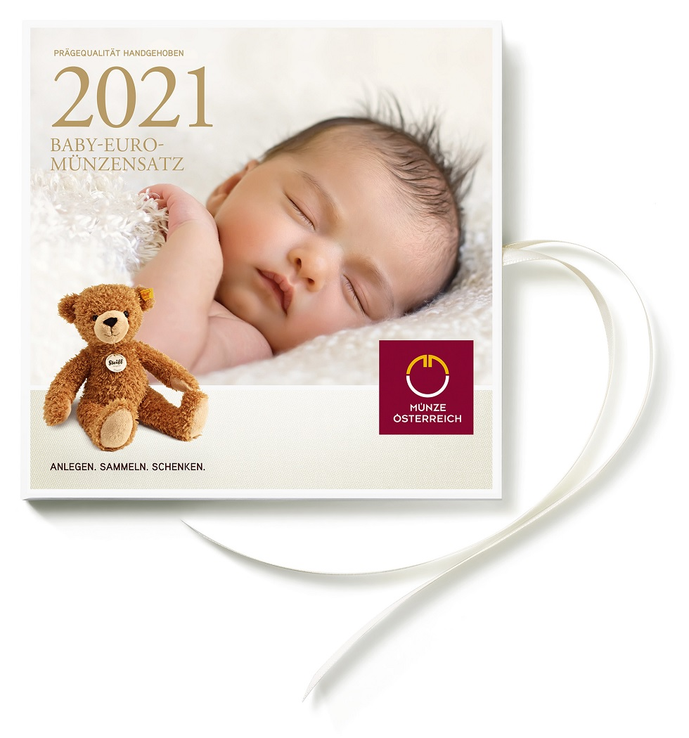 (EUR01.CofBU&FDC.2021.24614) Brilliant Uncirculated coin set Austria 2021 - Baby birth (zoom)
