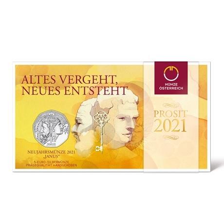 (EUR01.ComBU&BE.2020.24612) 5 euro Autriche 2021 argent BU - Janus (packaging)