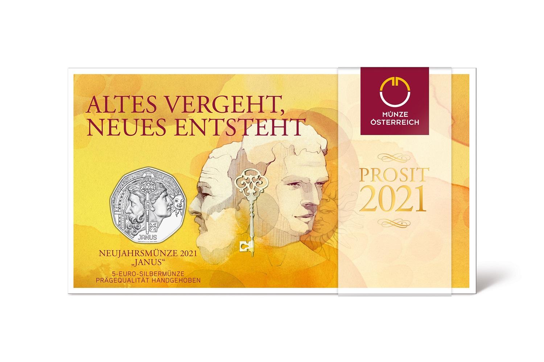 (EUR01.ComBU&BE.2021.24612) 5 euro Austria 2021 BU silver - Janus (packaging) (zoom)