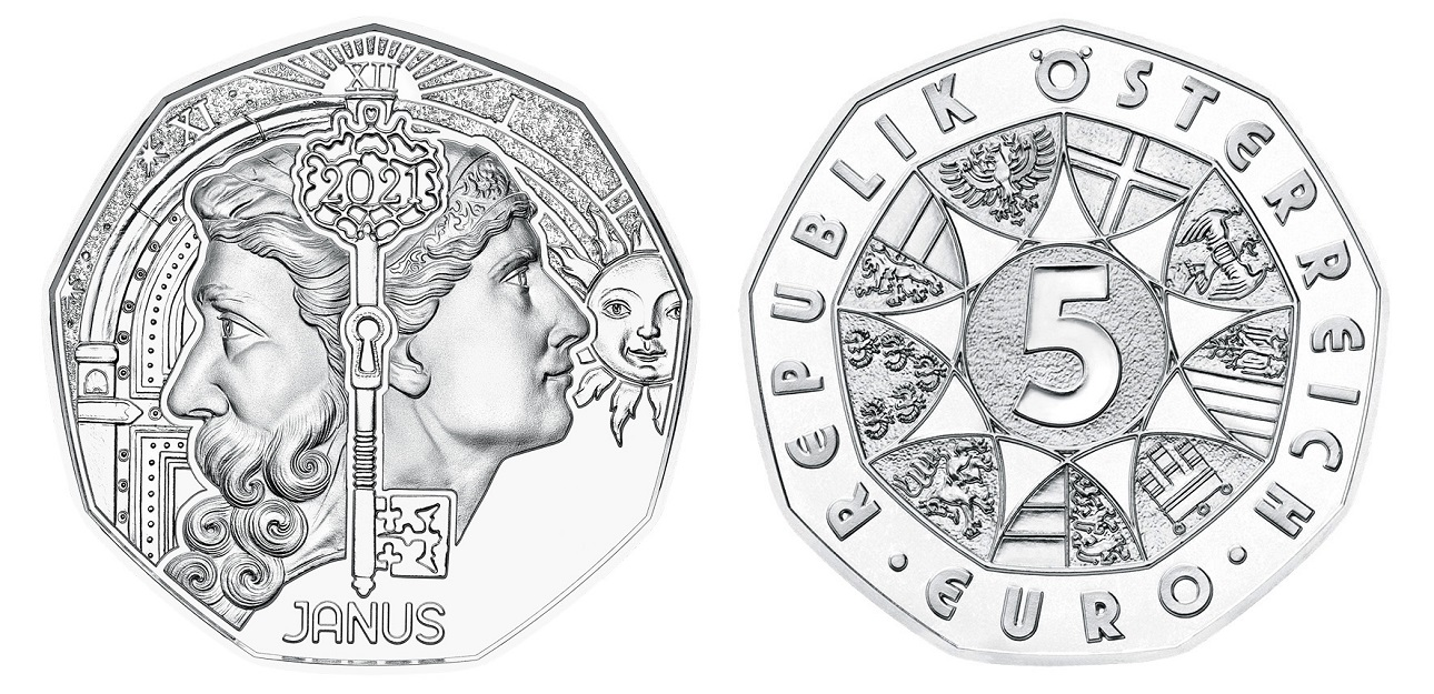(EUR01.ComBU&BE.2021.24612) 5 euro Austria 2021 BU silver - Janus (zoom)