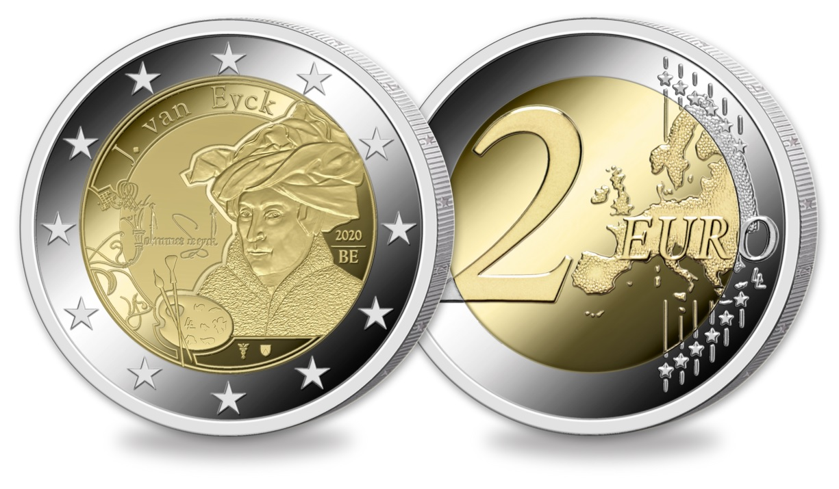 (EUR02.ComBU&BE.2020.0108814) 2 euro Belgium 2020 BU - Jan Van Eyck - Flemish legend (zoom)