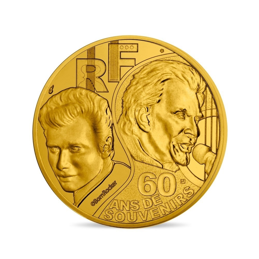 (EUR07.025.2020.10041349360000) 0.25 euro France 2020 - Johnny Hallyday Obverse (zoom)