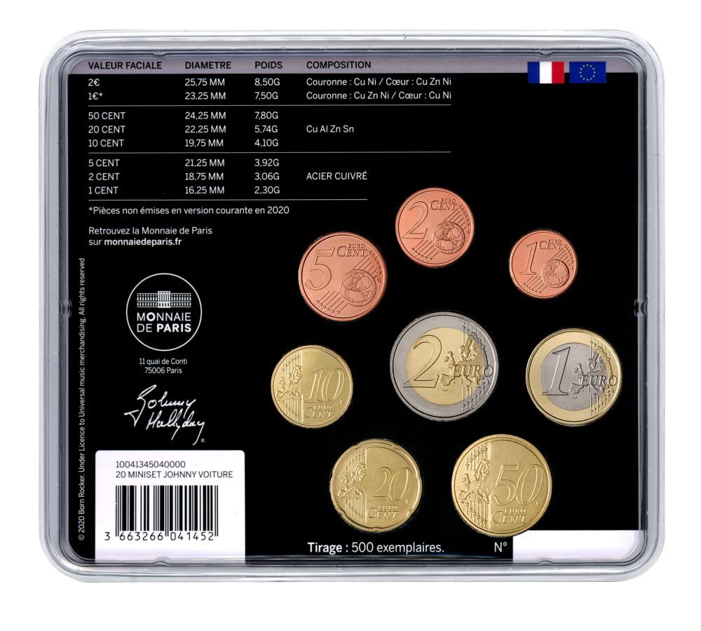 (EUR07.CofBU&FDC.2020.10041345040000) BU coin set France 2020 - Johnny Hallyday & his car Back (zoom)