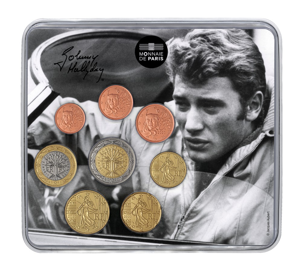 (EUR07.CofBU&FDC.2020.10041345040000) BU coin set France 2020 - Johnny Hallyday & his car Front (zoom)