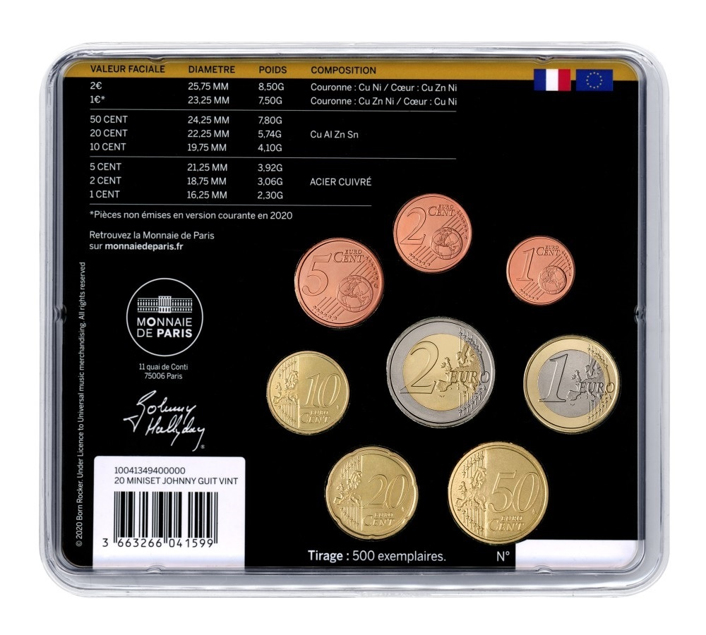 (EUR07.CofBU&FDC.2020.10041349400000) BU coin set France 2020 - Johnny Hallyday & his guitar Back (zoom)