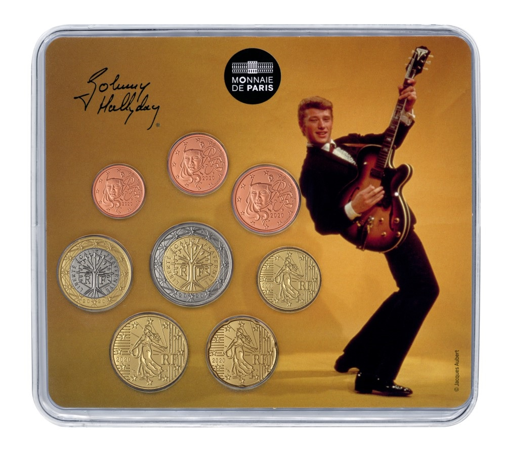 (EUR07.CofBU&FDC.2020.10041349400000) BU coin set France 2020 - Johnny Hallyday & his guitar Front (zoom)