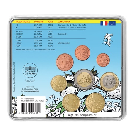 (EUR07.CofBU&FDC.2020.10041356070000) Mini-set BU France 2020 - Lucky Luke Verso