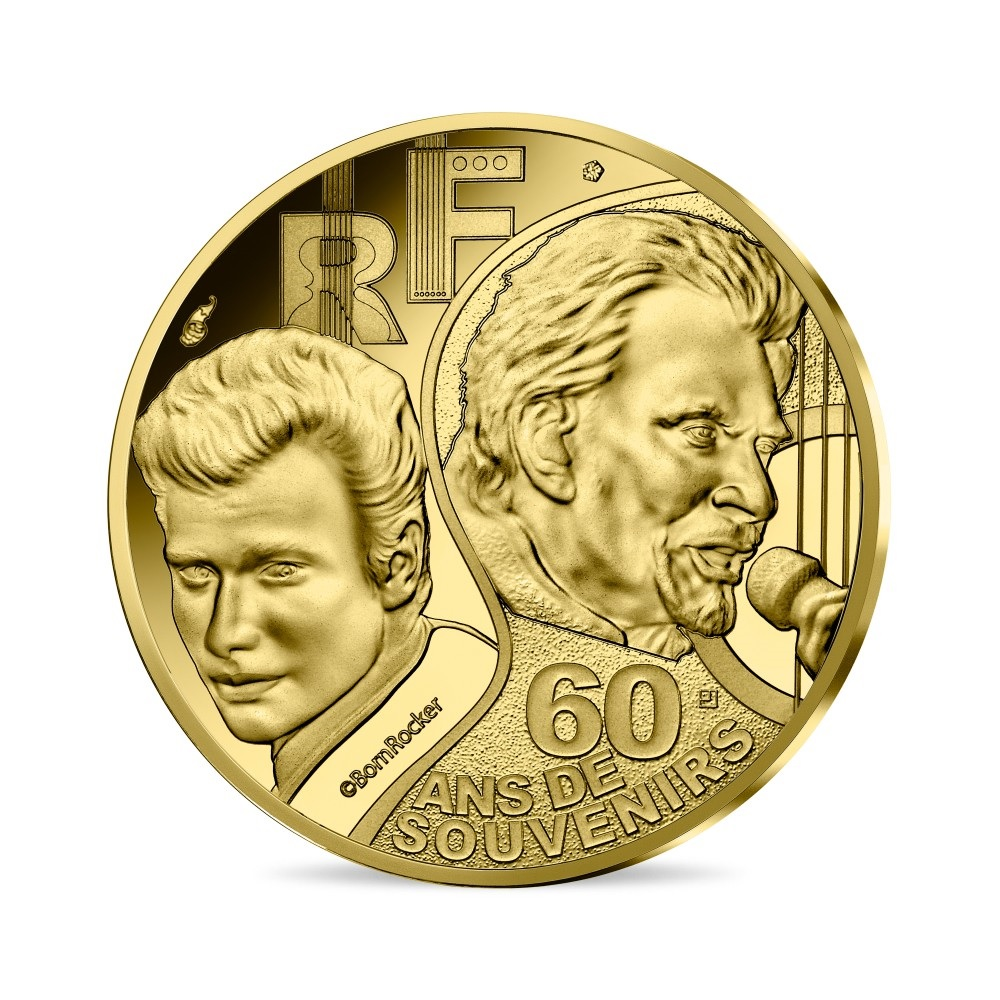 (EUR07.ComBU&BE.2020.10041344280000) 10 euro France 2020 Proof Au - Johnny Hallyday Obverse (zoom)