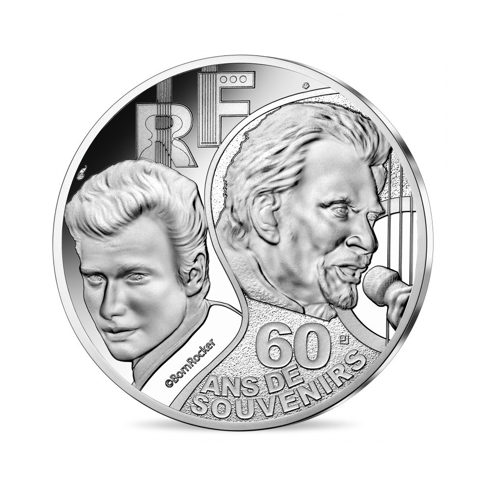 (EUR07.ComBU&BE.2020.10041344290000) 10 euro France 2020 Proof silver - Johnny Hallyday Obverse (zoom)
