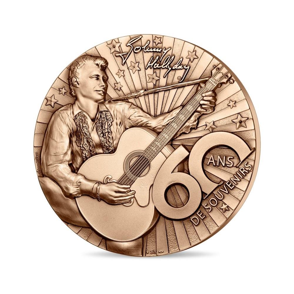(FMED.Méd.MdP.n.d._2020_.CuZn.100113520000P0) Bronze medal - Johnny Hallyday Obverse (zoom)