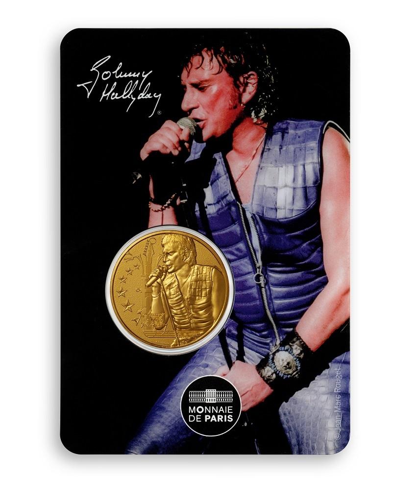 (FMED.Méd.souv.2020.10011350960000) Token - Johnny Hallyday singing Front (zoom)