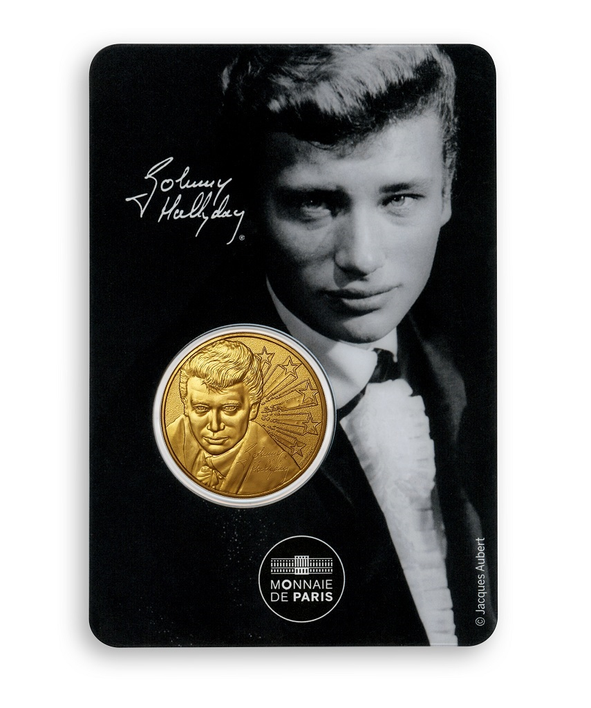 (FMED.Méd.souv.2020.10011350970000) Token - Johnny Hallyday with a ruffle Front (zoom)