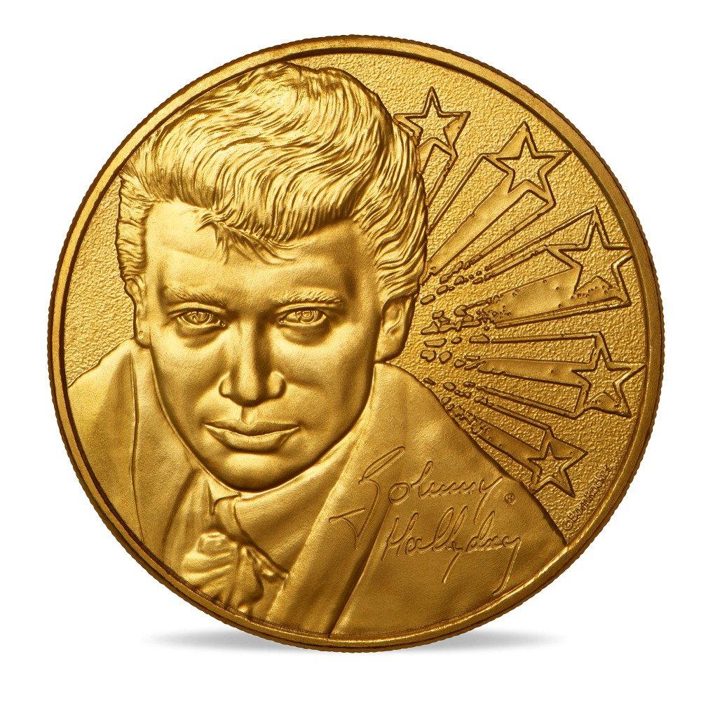 (FMED.Méd.souv.2020.10011350970000) Token - Johnny Hallyday with a ruffle Obverse (zoom)