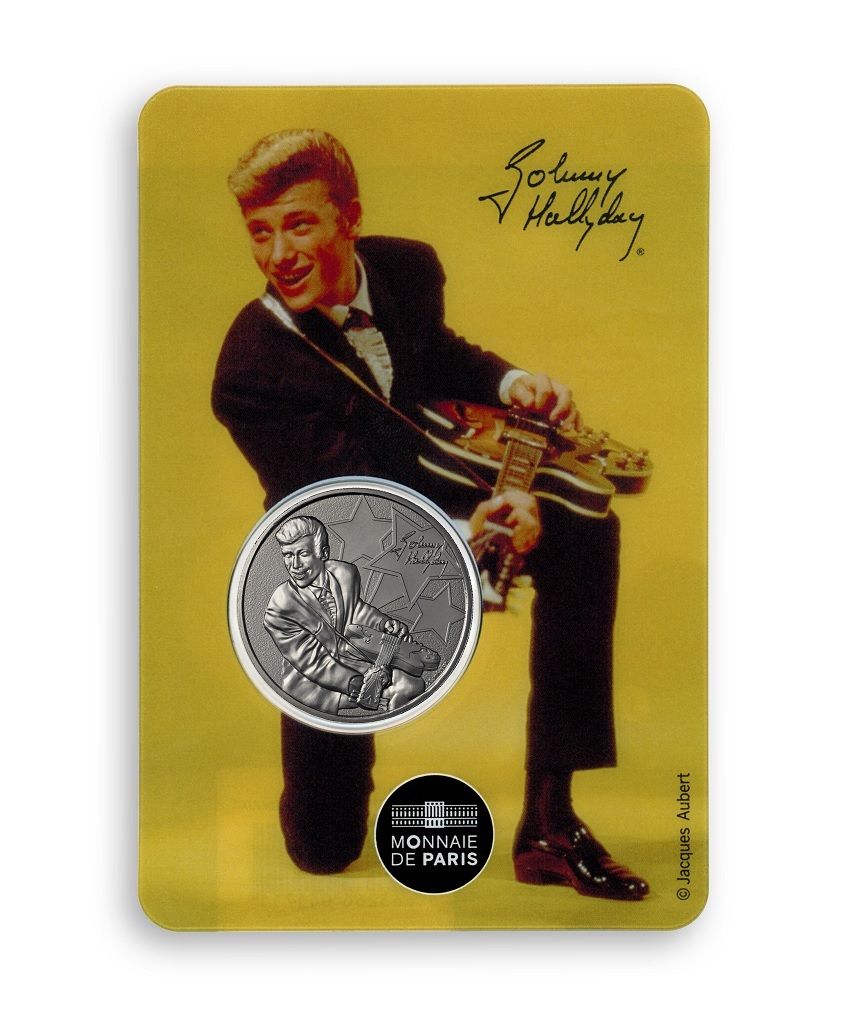 (FMED.Méd.souv.2020.10011351000000) Token - Johnny Hallyday kneeling Front (zoom)