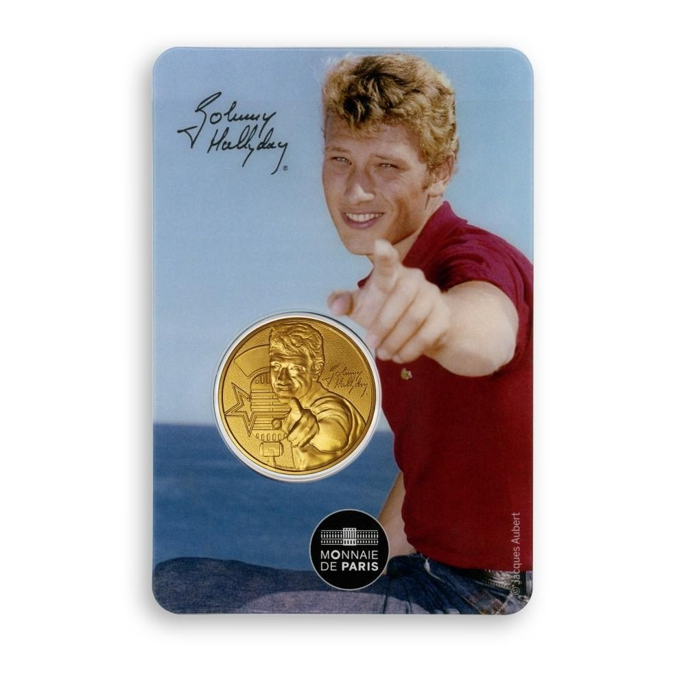 (FMED.Méd.souv.2020.10011351010000) Token - Johnny Hallyday wearing a polo shirt Front (zoom)