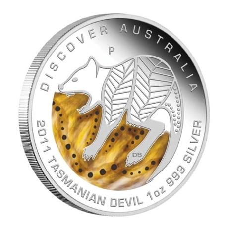 (W017.1.D.2011.1118DEAA) 1 Dollar Australie 2011 1 once argent BE - Diable de Tasmanie Revers