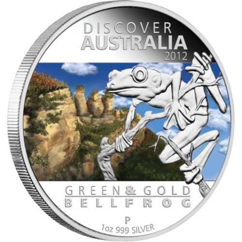 (W017.1.D.2012.1218DAAA) 1 Dollar Australia 2012 1 ounce Proof silver - Green and gold bell frog Reverse (zoom)