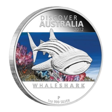 (W017.1.D.2012.1218DEAA) 1 Dollar Australie 2012 1 once argent BE - Requin baleine Revers