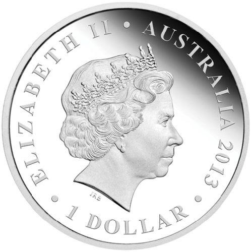 (W017.1.D.2013.13U09AAA) 1 Dollar Australia 2013 1 ounce Proof silver - Procoptodon Obverse (zoom)