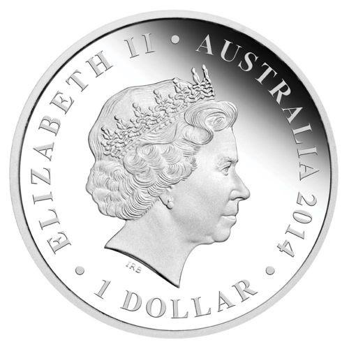 (W017.1.D.2014.14U18CAA) 1 Dollar Australia 2014 1 ounce Proof silver - Thylacoleo Obverse (zoom)