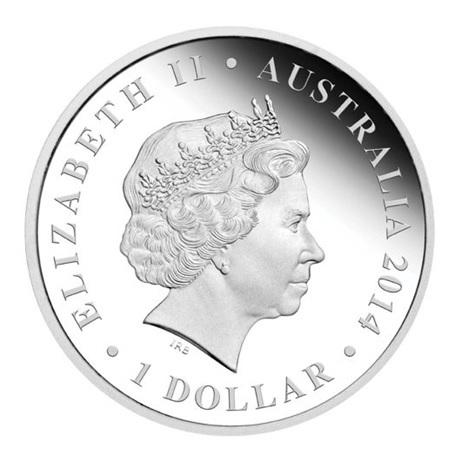 (W017.1.D.2014.14U18CAA) 1 Dollar Australie 2014 1 once argent BE - Thylacoleo Avers