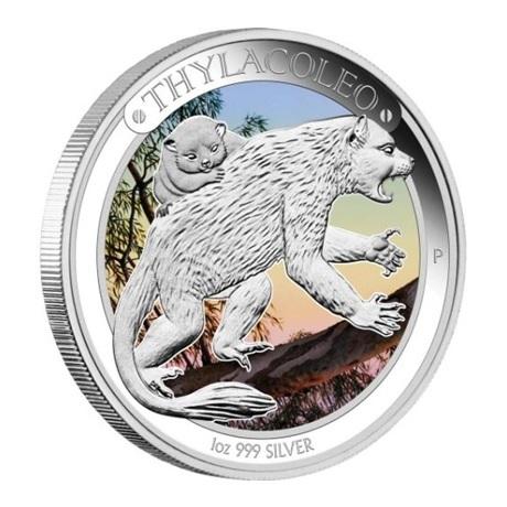(W017.1.D.2014.14U18CAA) 1 Dollar Australie 2014 1 once argent BE - Thylacoleo Revers