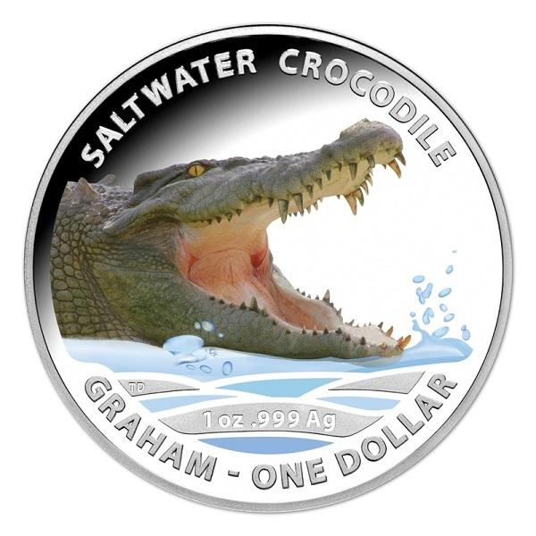 (W017.1.D.2014.210275) 1 Dollar Australia 2014 1 ounce Proof silver - Saltwater crocodile Graham Reverse (zoom)