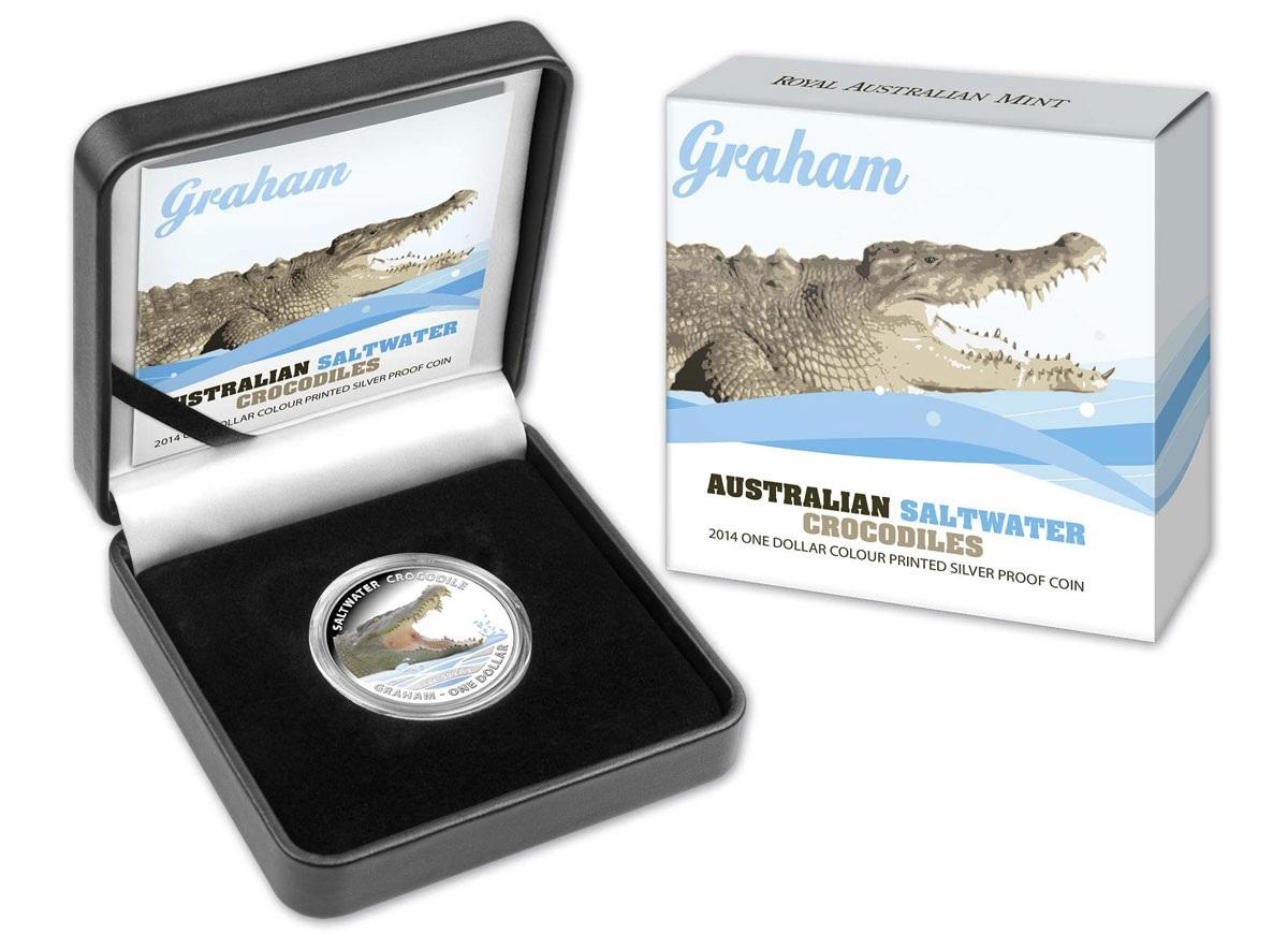 (W017.1.D.2014.210275) 1 Dollar Australia 2014 1 oz Proof Ag - Saltwater crocodile Graham (case and box) (zoom)