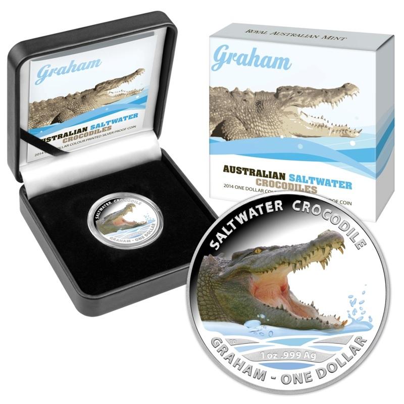 (W017.1.D.2014.210275) 1 Dollar Australia 2014 1 oz Proof Ag - Saltwater crocodile Graham (packaging) (zoom)