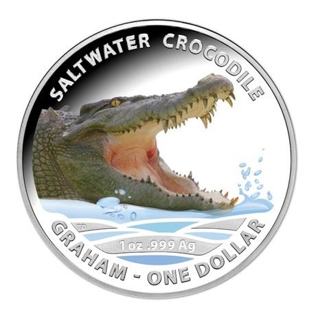 (W017.1.D.2014.210275) 1 Dollar Australie 2014 1 once argent BE - Crocodile marin Graham Revers