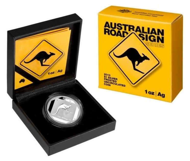 (W017.100.2013.1.oz.Ag.3) 1 Dollar Australia 2013 1 ounce Proof silver - Kangaroo road sign (case and box) (zoom)