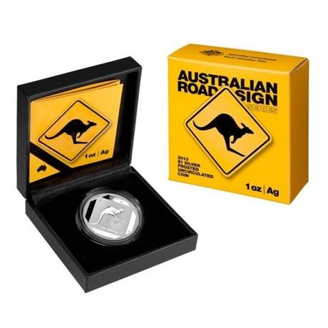 (W017.100.2013.1.oz.Ag.3) 1 Dollar Australie 2013 1 oz Ag BE - Panneau de signalisation au kangourou (packaging)