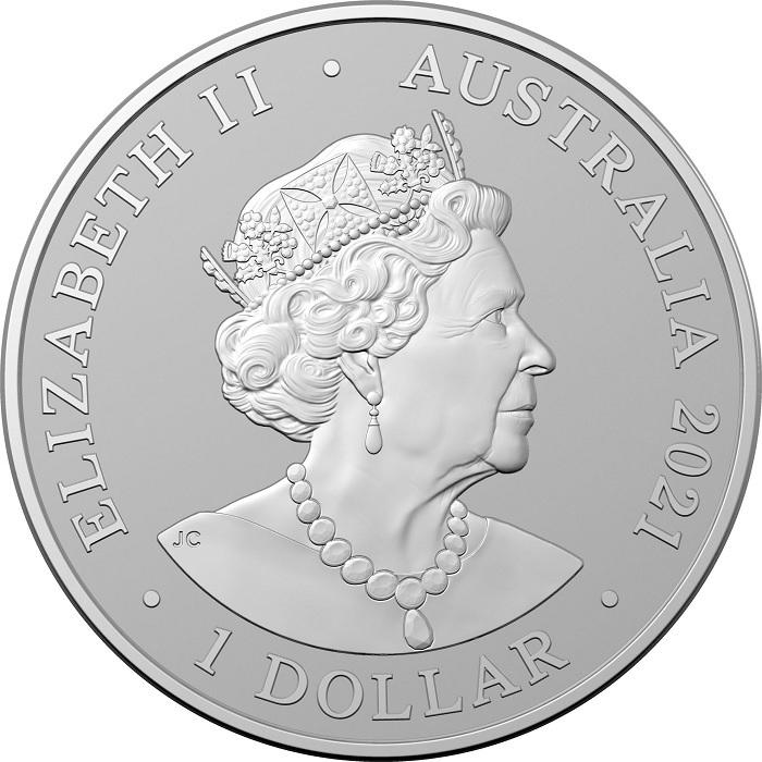 (W017.100.2021.10624) 1 Dollar AC DC 2021 - BU silver Obverse (zoom)