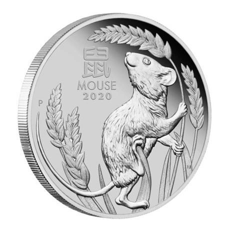 (W017.100.D.2020.3S2019DAAA) 100 Dollars Australie 2020 1 once platine BE - Année du Rat Revers