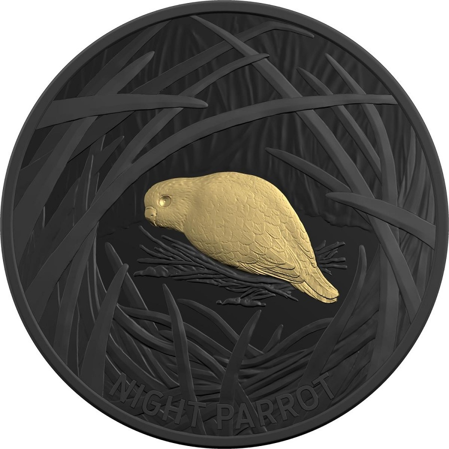 (W017.5.D.2019.10174) 5 Dollars Night parrot 2019 - Proof black nickel and gold plated silver Reverse (zoom)