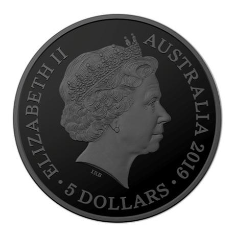 (W017.5.D.2019.10174) 5 Dollars Perruche nocturne 2019 - Argent plaqué nickel noir et or BE Avers