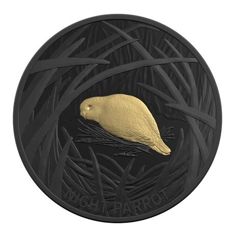 (W017.5.D.2019.10174) 5 Dollars Perruche nocturne 2019 - Argent plaqué nickel noir et or BE Revers