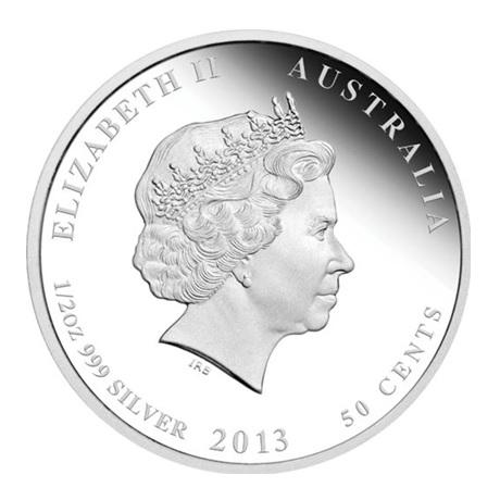 (W017.50.C.2013.2S1316EAAE) 50 Cents Australie 2013 0,5 once argent BE - Année du Serpent Avers